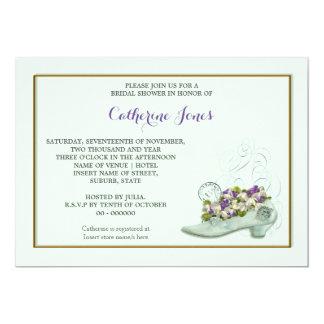 Bridal shoe floral stamp 13 cm x 18 cm invitation card
