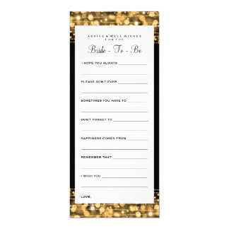 Bridal Shower Advice Cards Party Sparkles Gold