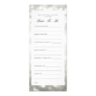 Bridal Shower Advice Cards Silver Glitter Lights