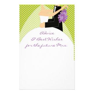 Bridal Shower Best Wishes & Advice Stationary Personalised Stationery