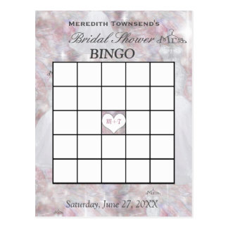 Bridal Shower Bingo | Bokeh Lights Wedding Dress Postcard