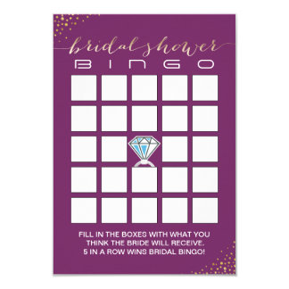 Bridal Shower Bingo Cards | Gold Confetti Purple