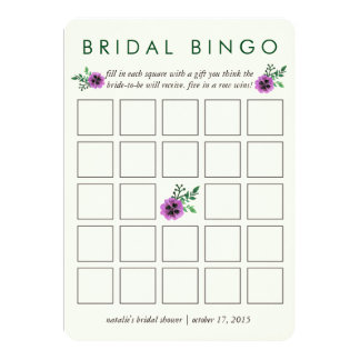 Bridal Shower Bingo Game Card | Purple Pansy