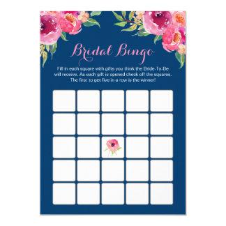 Bridal Shower Bingo Game Pink Floral Navy Blue Card