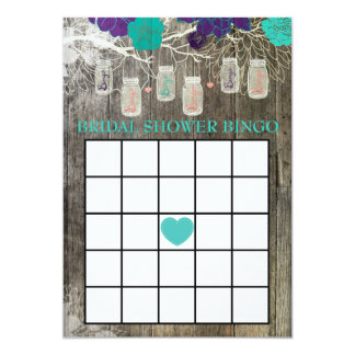 Bridal Shower Bingo Game Rustic Mason Jar Floral Card