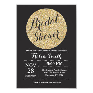 Bridal Shower Black and Gold Glitter Invitation