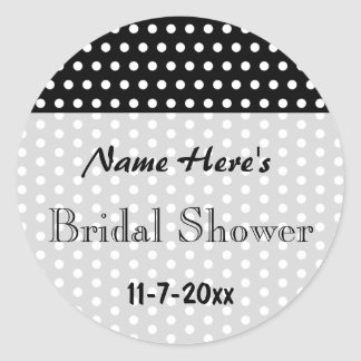 Bridal Shower, Black and White Polka Dots. Custom. Round Sticker