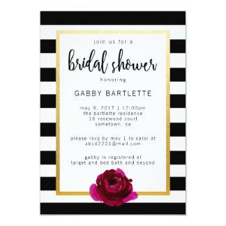 Bridal Shower Black and White Stripe Invitation