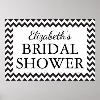 Bridal Shower Black & White Chevron Poster