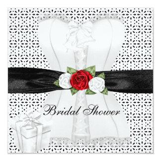 Bridal Shower Black White Corset Red Roses Flower Custom Invitations