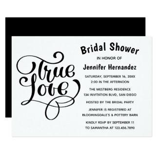 Bridal Shower Black & White True Love Typography Card