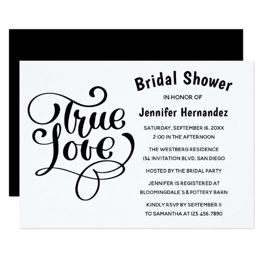 Bridal Shower Black & White True Love Typography Card