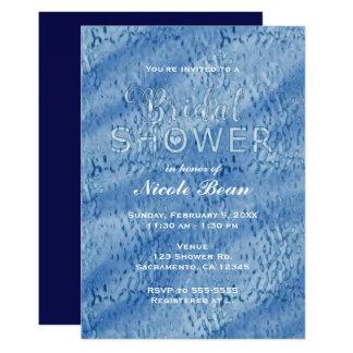 Bridal Shower Blue Abstract Rain Drops Invitation