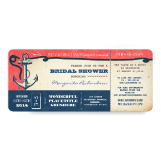"""bridal shower boarding pass-tickets with RSVP 4"""" X 9.25"""" Invitation Card"""