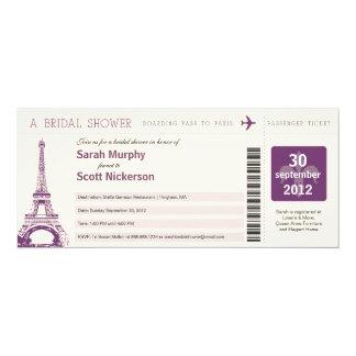 Bridal Shower Boarding Pass to Paris France 10 Cm X 24 Cm Invitation Card
