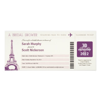Bridal Shower Boarding Pass to Paris France Custom Invite