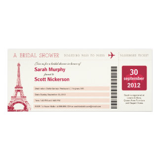 Bridal Shower Boarding Pass to Paris France Personalized Invitation