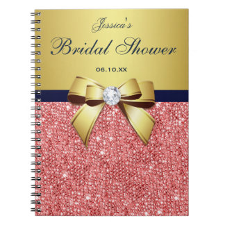 Bridal Shower Bow Guestbook Gold Coral Sequins Notebook