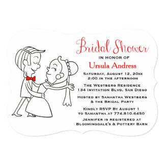 Bridal Shower Bride & Groom Red, Black And White 13 Cm X 18 Cm Invitation Card