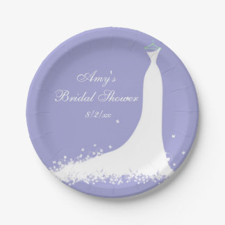 Bridal Shower, Bride, Purple 7 Inch Paper Plate