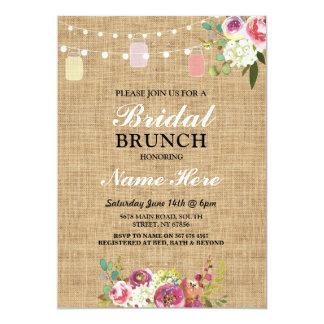 Bridal Shower Brunch Invite Burlap Floral Lights