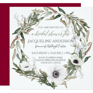 Bridal Shower Burgundy Anemone Olive Leaf Wreath Card