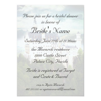 "Bridal Shower, Castle Themed Wedding 5.5"" X 7.5"" Invitation Card"
