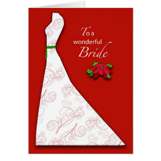 Bridal Shower Christmas, Red Poinsettia Greeting Card