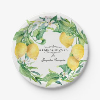 Bridal Shower Citrus Lemon Floral Leaf Wreath Art Paper Plate