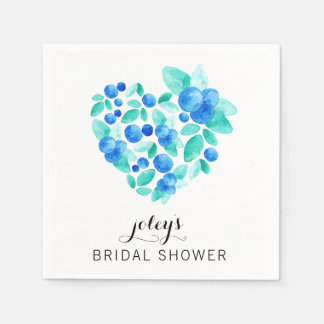 Bridal Shower Cocktail Napkins Custom Heart Summer Paper Napkins