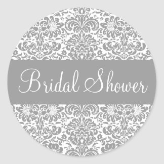 Bridal Shower Damask Envelope Sticker Seal
