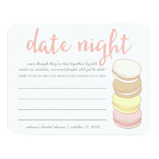 Bridal Shower Date Night Cards | French Macarons 11 Cm X 14 Cm Invitation Card