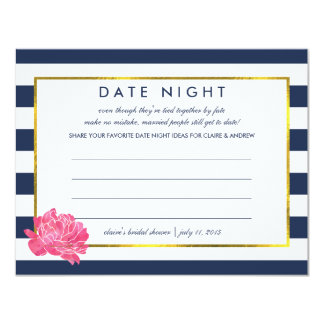 Bridal Shower Date Night Cards | Navy Stripe Peony 11 Cm X 14 Cm Invitation Card