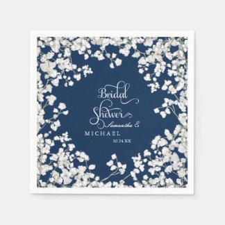 Bridal Shower Decor Babys Breath Wreath Floral Paper Napkin