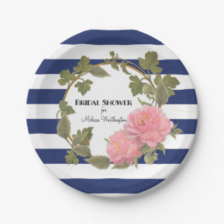 Bridal Shower Decor Gold Wide Striped Peony Wreath Paper Plate