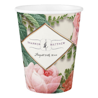 Bridal Shower Decor Vintage Floral Pink Rose Gold