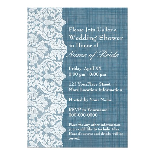 Bridal Shower: Denim and Lace Pattern Custom Announcement