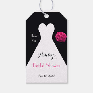 Bridal Shower Dress and Roses Thank You Favor Gift Tags