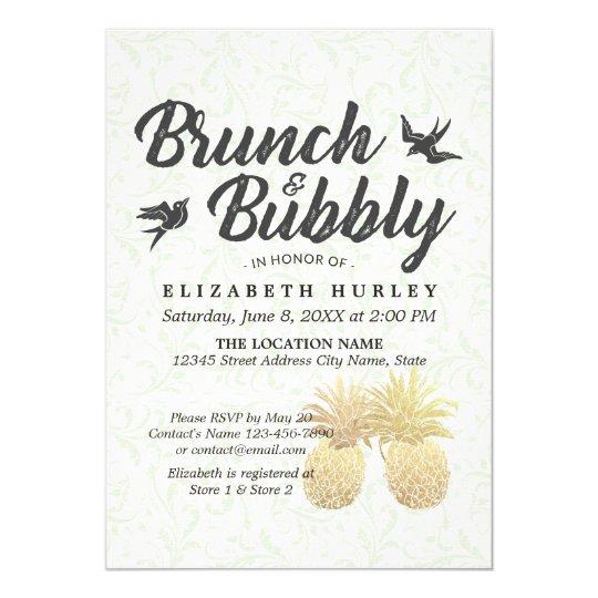 Bridal Shower Elegant Gold Foil Pineapple Couple Card