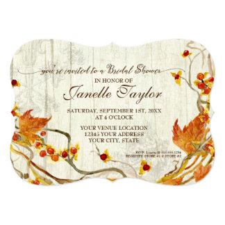 Bridal Shower Elegant Wood Fall Autumn Wedding Card