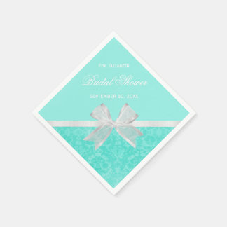 Bridal Shower Favor Chic Aqua Damask White Bow Paper Napkin
