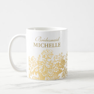 Bridal Shower Favor Floral Basket Gold Basic White Mug