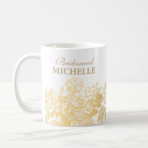 Bridal Shower Favor Floral Basket Gold Mugs