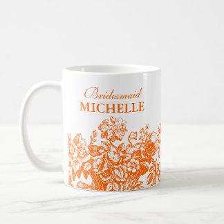 Bridal Shower Favor Floral Basket Orange Basic White Mug