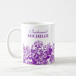 Bridal Shower Favor Floral Basket Purple Basic White Mug