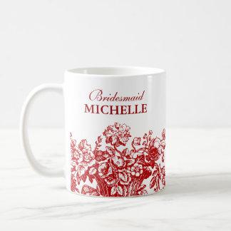 Bridal Shower Favor Floral Basket Red Basic White Mug