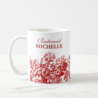 Bridal Shower Favor Floral Basket Red Coffee Mug