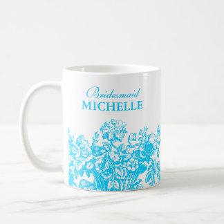 Bridal Shower Favor Floral Basket Turquoise Basic White Mug