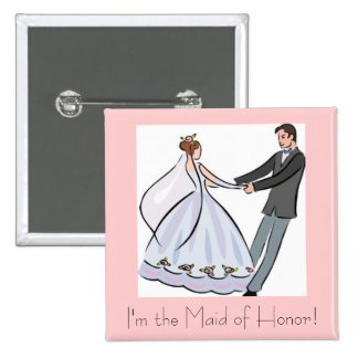 Bridal Shower Favor-Maid of Honor 15 Cm Square Badge