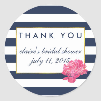 Bridal Shower Favor Stickers | Navy Stripe & Peony
